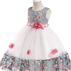 Girls Floral Pink Dress (5 to 6 y.o)